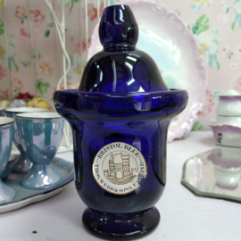 Thomas Webb Stourbridge Bristol Blue Glass Pot - Label