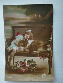 Ansichtkaart Meisje met hond