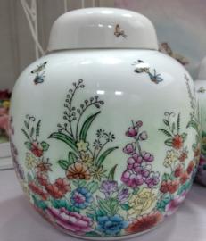 Gemberpot met bloemen - Made In China - 17 cm