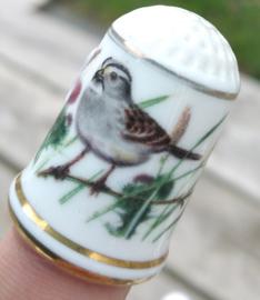 Vingerhoed - Franklin Mint - Tuinvogels - Witgeel Gors