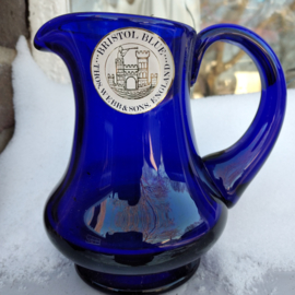 Thomas Webb Stourbridge Bristol Blue Glass Jug - Label