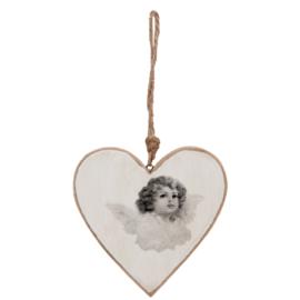 Clayre en Eef Hanger hart engel 10 cm.