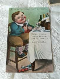Ansichtkaart Jongen aan tafel kerst
