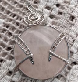 Hanger voor ketting natuursteen Roze Quartz