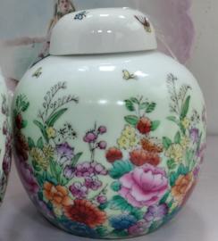 Gemberpot met bloemen - Made In China - 13 cm