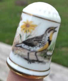 Vingerhoed - Franklin Mint - Tuinvogels -Geelkaakweidespreeuw