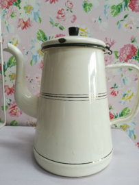Emaille koffiekan Creme