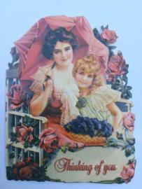 Dubbele relief kaart met envelop - Victoriaanse stijl - 8 cm * 12 cm.