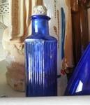 Blauw fles met kurkje  10 cm