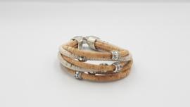 Kurk 4 + 2 strengen armband wit
