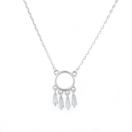 925 Sterling Silver Necklace Cirle with Charm