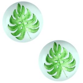 Cabochon basic 12mm Tropical leaf-light grey