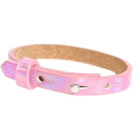 Cuoio armband holografisch roze
