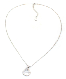 925 Sterling Silver Cirle with Crystal