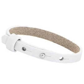 Cuoio armband helder wit