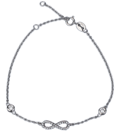925 Sterling Silver armband Infinity met Crystals