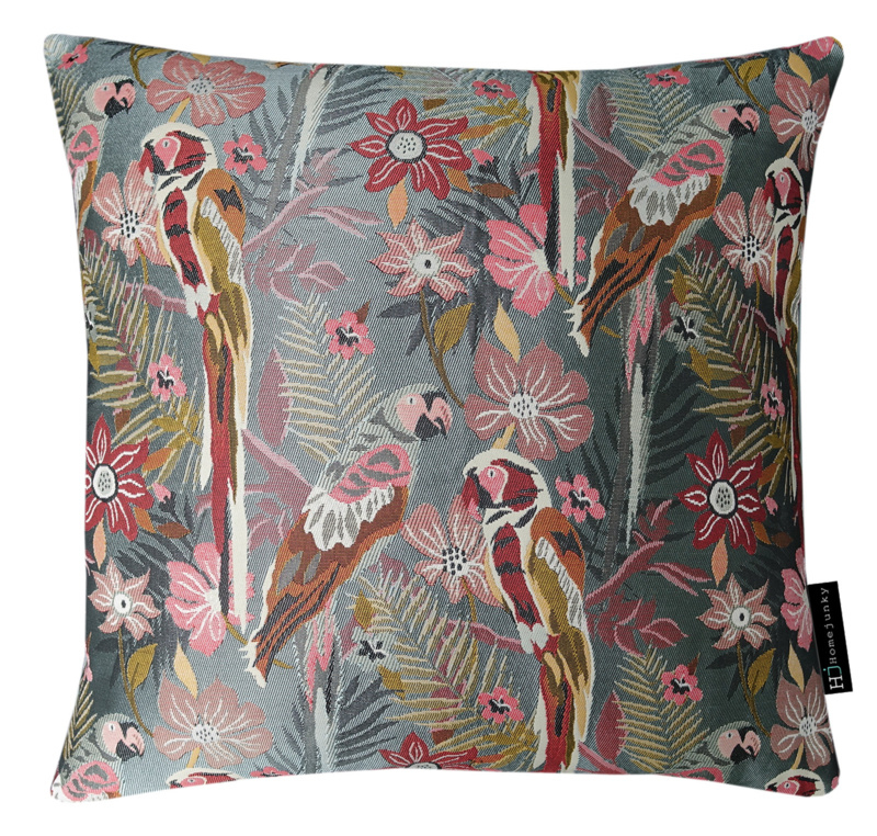 230 Pillow Two Parrots in Love Grey 50x50