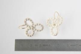 Oorhangers Bloemenkrans Triple zilver met goud