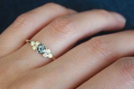 Gouden ring met grijs-achtige Spinel en 6 diamanten