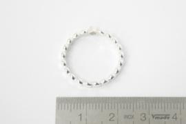 Zilveren stippen ring (fijn) met zirconia