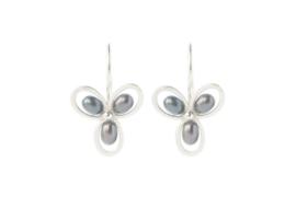 Oorhangers Butterfly zilver met zoetwaterparels