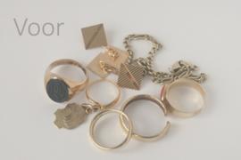 Ringenset 'Bloem' van 'oud' goud
