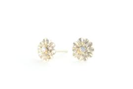 Oorstekers Little Daisy goud met diamant