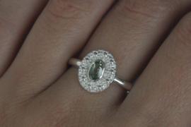 Ring 'Bloemenkrans Ovaal Toermalijn'