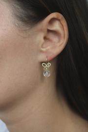 Mix & Match - oorhaken goud met Bergkristal druppels