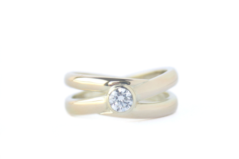 2 trouwringen samengevoegd tot 1 ring