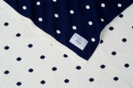 Gebreide deken Dots - katoen - donkerblauw