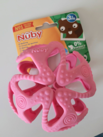 Flexibele silicone teething ball - roze