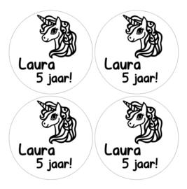 Traktatiestickers / Stickers verjaardag eenhoorn