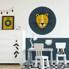 Muursticker leeuw blauw met okergeel 50cm