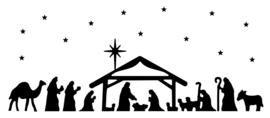 Raamstickers Kerststal