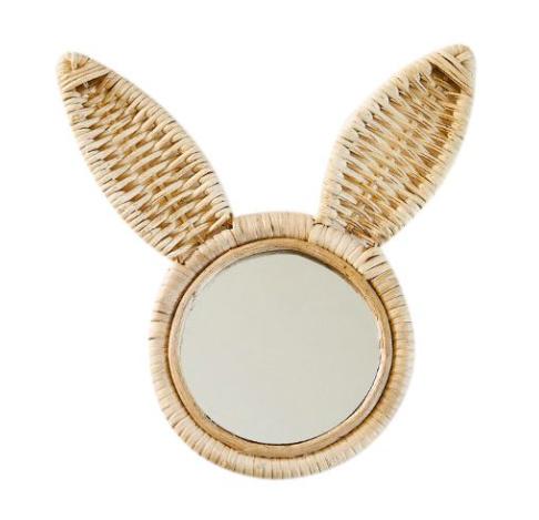 Rotan spiegeltje konijn 35cm