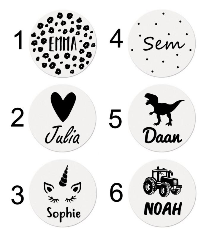 Muurcirkel met naam (diverse designs)