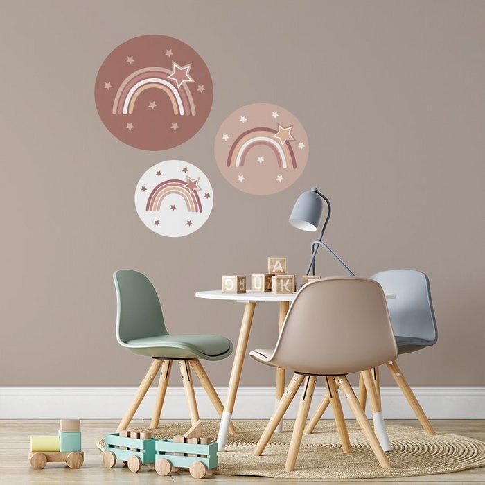 Set muurcirkels regenboog aardetinten