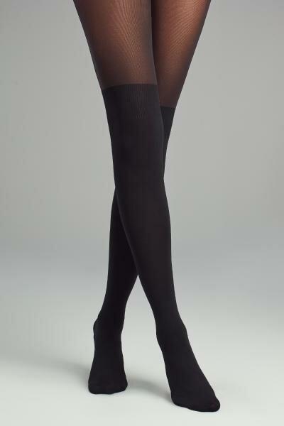 Over knee panty zwart