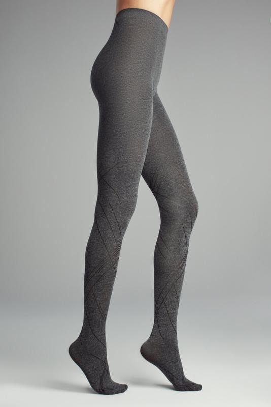 Grijs gemêleerde panty 'Diagonal'