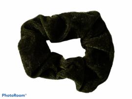 Velvet scrunchie olijf groen