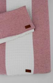 Ledikantdeken met hoes 'Melange' roze + gratis knisperbijtring