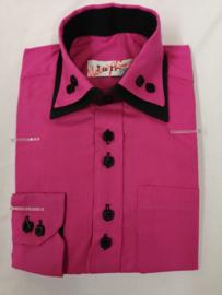 Roze/zwart blouse met strik of das.