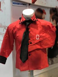 Rood/zwart blouse met das of strik.