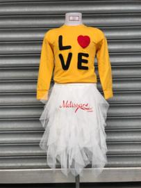 'Love' meisjes trui oker geel.