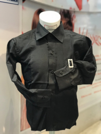 'Sammy' Overhemd even zwart met das.