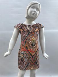 'Alice'Off Shoulder jurk blauw print.