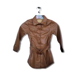 'Nicole ' lederlook jurk bruin.