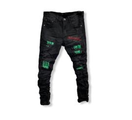 'Dennis ' jongens jeans broek zwart / groen.