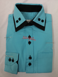 Groen/zwart blouse met das of strik.